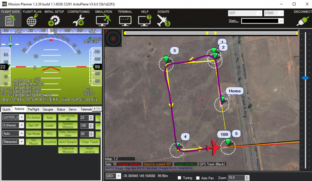 Flying a simulated ArduPlane UAV around Canberra from the comfort of my desk in Perth.